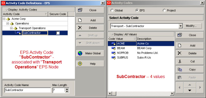 a typical eps activity code setup