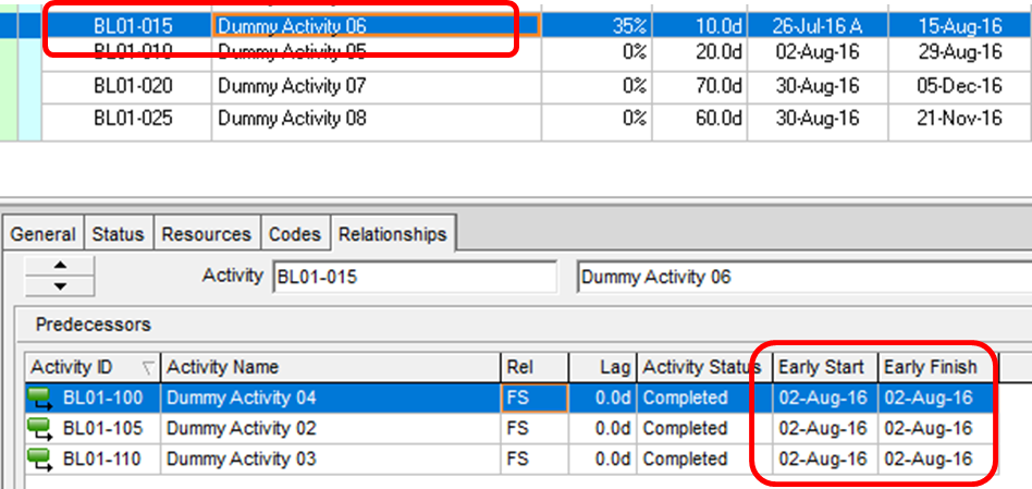 Out-of-Sequence Activities in Primavera P6 Professional