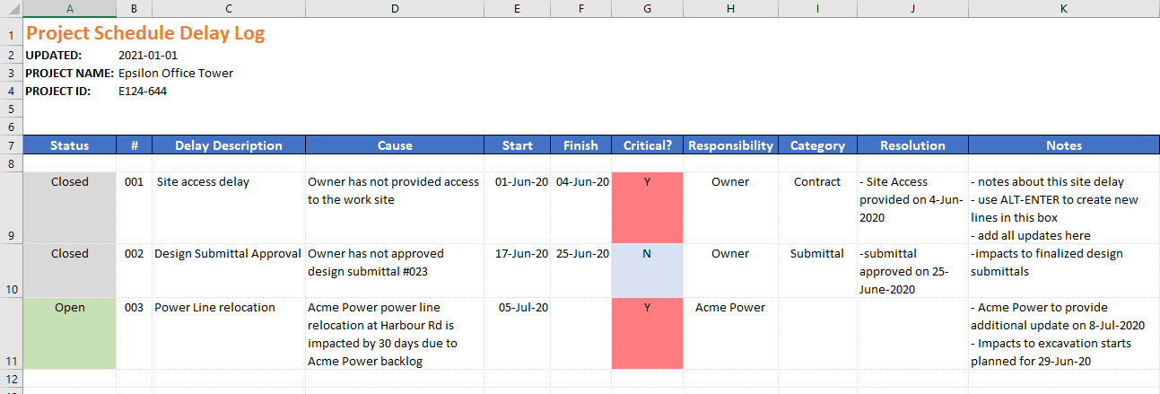 construction delay log tracker template